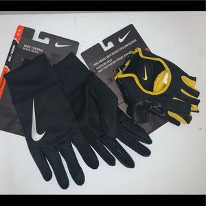 🔐 LOT OF 2 MENS NIKE THERMA / CYCLING GLOVES